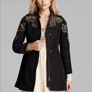 Free People Embroidered Sergeant Coat Size 8